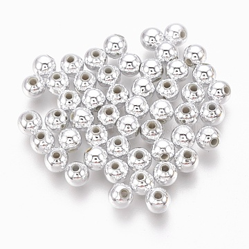 ABS Plastic Beads, Eco-Friendly Electroplated Beads, Round, Silver Plated, 4mm, Hole: 1.4mm(X-KY-G007-4mm-S)