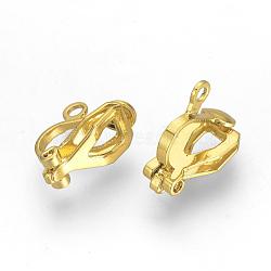 Iron Clip-on Earring Findings, Golden, 12x6x10mm, Hole: 1.5mm(X-KK-R071-06G)