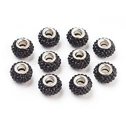 Résine grade JET A strass perles européennes, perles de rondelle avec grand trou , avec ame en laiton de couleur argent, 12x8mm, Trou: 4mm(X-CPDL-H001-12x9mm-6)