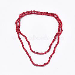 Colliers à deux niveaux avec perles de corail de bambou de mer (imitation de corail), colliers double couche, rouge, 46.4'' (118 cm)(NJEW-S414-25)