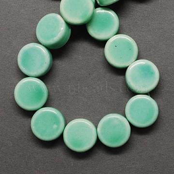 Handmade Porcelain Beads, Bright Glazed Porcelain, Flat Round, Aquamarine, 11x6mm, Hole: 2mm(X-PORC-Q179-11mm-2)