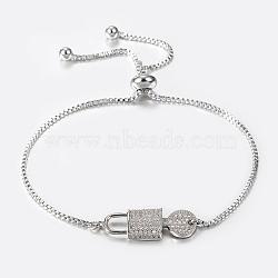 """Bracelets réglables en laiton à micro-pavé de zircons cubiques, Bracelets coulissants, Serrure et clé, platine, 10-1/4"""" (260 mm); 1.2mm(BJEW-H558-06P)"""