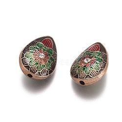 des perles d'émail en alliage, avec strass, goutte d'eau avec fleur, or et de lumière, Sienna, 22x16x9.5 mm, trou: 2 mm(ENAM-G153-01G)