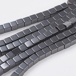 Немагнитные синтетический гематит бисер пряди, квадратный, чёрные, Размер : шириной около 3 мм , 3 мм длиной, отверстие : 1 мм, около 122 шт / нитка(X-G-H1077-1)