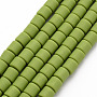 Yellow Green Column Polymer Clay Beads(CLAY-T001-C45)