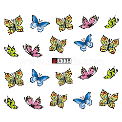 Nail Art Water Transfer Stickers Decals, For Nail Tips Decorations, Butterfly, Colorful, 6.125x5.3cm(X-MRMJ-Q080-A338)
