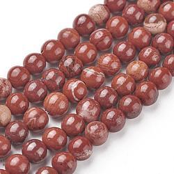 """Chapelets de perles en jaspe rouge naturel, rond, grade AB, rouge, 6mm, trou: 1mm; environ 65 pcs/chapelet, 15.5""""(G-F348-02-6mm)"""