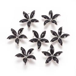 Pendentifs en laiton émail peg bails, pour la moitié de perles percées, sans nickel, fleur, Platine plaqué réel, noir, 23x24x6mm, trou: 2 mm; broches: 1 mm(KK-F803-26P-01-NF)