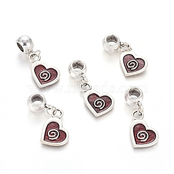 Antique Silver Plated Alloy European Dangle Beads, Large Hole Pendants, with Enamel, Heart, Red, 35.5mm, Hole: 5.5mm; Heart: 21x13.5x1.5mm(MPDL-L030-N01-AS)