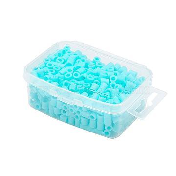 1 Box 5mm Hama Beads PE DIY Fuse Beads Refills for Kids, Tube, Light Sky Blue, 5x5mm, Hole: 3mm; about 500pcs/box(DIY-X0047-30-B)