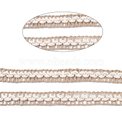 Braided Burlap Ribbon, Hessian Ribbon, Jute Ribbon, for Crafts Wraping Gifts and Rustic Wedding Decorations , Tan, 1/2 inch(13~15mm); about 50yards/roll(45.72m/roll)(OCOR-TAC0009-05)