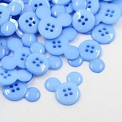 Boutons en plastique acrylique, boutons de couture, 4-trou, teint, tête de souris, cornflowerblue, 22x20x3mm, Trou: 1mm(X-BUTT-E062-08)
