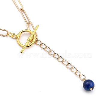 Lariat Necklaces, with Round Natural Lapis Lazuli Beads, Brass Toggle Clasps, Iron Paperclip Chains and Cardboard Box, Golden, 16.33~16.53 inches(41.5~42cm)(NJEW-JN03028-05)