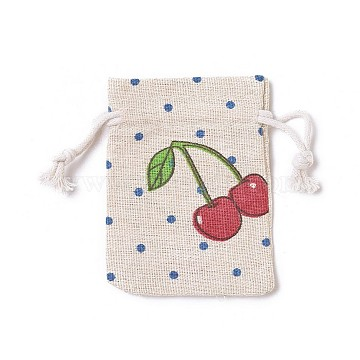 Burlap Packing Pouches, Drawstring Bags, Rectangle with Cherry Pattern, Colorful, 8.7~9x7~7.2cm(ABAG-I001-7x9-11)