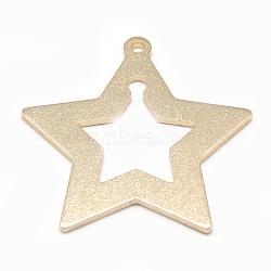 grands pendentifs en aluminium, étoiles, or, 54.5x55x2 mm, trou: 2.5 mm(ALUM-S014-05G)