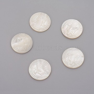 Natural White Shell Mother of Pearl Shell Cabochons, For Easter, Flat Round with Jesus, 20x2~3mm(SHEL-P071-07B)