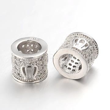 Hollow Brass Micro Pave Cubic Zirconia European Beads, Large Hole Column Beads, Lead Free & Nickel Free, Platinum, 7x8mm, Hole: 4.5mm(ZIRC-L037-38P-FF)