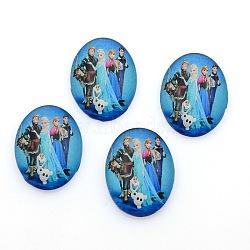 Cabochons ovales en verre imprimé , bleu foncé, 10x8x4mm(GGLA-N003-8x10-E23)