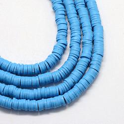Perles artisanales à l'argile polymère artisanales, disque / rond plat, perles heishi, dodgerblue, 3x1 mm, trou: 1 mm; environ 380~400 perle / brin, 17.7(X-CLAY-R067-3.0mm-33)