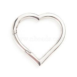 304 Stainless Steel Spring Gate Rings, Heart, Stainless Steel Color, 9 Gauge, 30x30x3mm; Inner Diameter: 20.5x24mm(STAS-I133-11P)