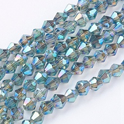 1 Strand Faceted Bicone Full Plated Glass Beads Strands, Teal, 3x3mm, Hole: 1mm; about 128~135pcs/strand, 12.2inches