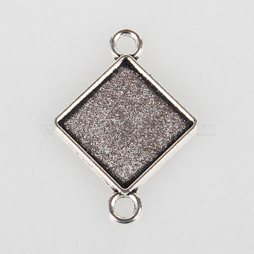 Vintage Tibetan Style Alloy Rhombus Connector Cabochon Bezel Settings, Cadmium Free & Lead Free, Antique Silver, Square Tray Side Length: 14.5mm, 32x23x2mm, Hole: 3mm(X-TIBE-O001-02AS)