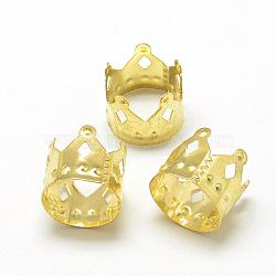 Plated Iron Hair Coil Cuffs, Dread Cuff Coil, Crown, Gold, 10x11.5mm, Hole: 10.5mm(IFIN-S696-14G)