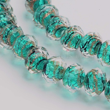 Handmade Gold Sand Lampwork Rondelle Beads Strands, Faceted, Cyan, 12x9mm, Hole: 1mm, 40pcs/strand, 14.2~15.4 inches(X-LAMP-I010-C-05)