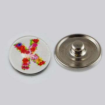 Holiday Buttons, Christmas Flat Round with Letter X Zinc Alloy Jewelry Snap Buttons, with Glass Cabochons, Platinum, Colorful, 18x8~10mm, Knob: 5~5.5mm(X-GLAA-R031-K186E)