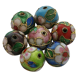 Perles en cloisonné Manuelles, rond, couleur mixte, 12mm ronde (+ - 0.5~1mm), trou: environ 2 mm(X-CLB12mm-M)
