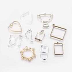 Pendentifs à fond ouvert en alliage, pour diy uv résine, une résine époxy, bijoux pressés, couleur mixte, 32~48x18~44x3~4mm, Trou: 2.5~3mm(PALLOY-MSMC011-01)