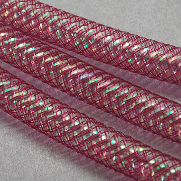 Mesh Tubing, Plastic Net Thread Cord, with AB Color Vein, PaleVioletRed, 8mm, 30Yards(PNT-Q004-8mm-10)