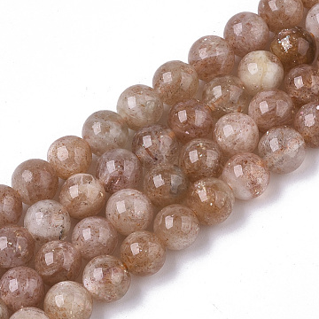 Natural Sunstone Beads Strands, Round, 6mm, Hole: 1mm, about 67pcs/strand, 16.14 inches(41cm)(G-S150-59-6mm)