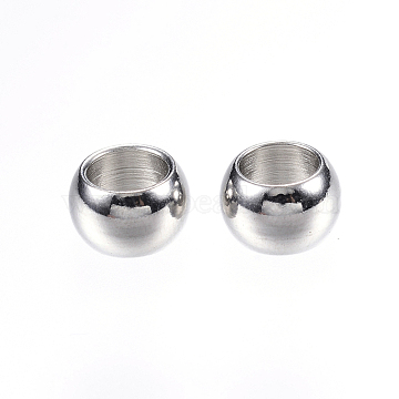 304 Stainless Steel Beads, Large Hole Beads, Rondelle, Stainless Steel Color, 8x5mm, Hole: 5mm(STAS-E147-25P)
