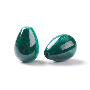 Natural Malachite Beads, Half Drilled, Teardrop, 14~14.5x10mm, Half Hole: 1mm(X-G-E557-14B)