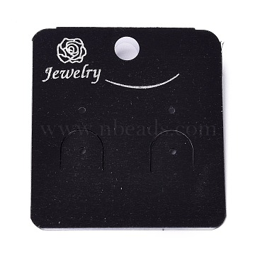 Plastic Jewelry Display Cards, for Hanging Earring Display, Rectangle with Rose Pattern, Black, 50x45x8.5mm, Hole: 1.4mm and 6mm, 100sheets/bag(DIY-K032-15A)