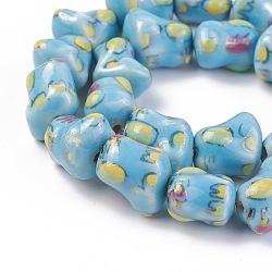 """Chapelets de perles en porcelaine manuelle, ornement d'or, chien, bleu clair, 13.5~14.5x13.5x10.5mm, trou: 1~1.5 mm; environ 24 pcs / brin, 13.19"""" (33.5 cm)(PORC-L033-006)"""
