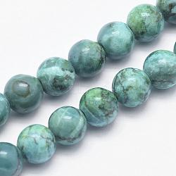 """Chapelets de perles en turquoise africaine naturelle, rond, teints et chauffée, darkcyan, 6mm, trou: 1mm; environ 62 pcs/chapelet, 15.7"""" (40 cm)(G-K211-6mm-A)"""