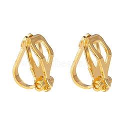 Brass Clip-on Earring Findings for Non-Pierced Ears, Golden, about 6mm wide, 13mm long, 8mm thick(X-EC110-G)