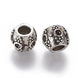 Perles européennes de strass de grand trou en alliage de style tibétain, baril, sans plomb et sans nickel, argent antique, s'adapter pour 2 mm strass; 9x11.5x11 mm, Trou: 5mm(X-TIBEB-8045-AS-NR)