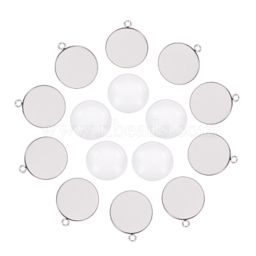 DIY Pendant Making,304 Stainless Steel Pendants, Cabochon Settings and Transparent Glass Cabochons, Flat Round, Stainless Steel Color, Tray: 25mm, 30.5x26x1.5mm, Hole: 3mm, 24.5~25x6~7mm(DIY-X0098-55P)