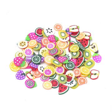 Handmade Polymer Clay Nail Art Decoration, Fashion Nail Care, No Hole, Fruit, Mixed Color, 4~7x4~7x0.5mm; 200pcs/bag(CLAY-Q244-04A)