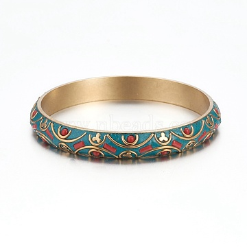 Handmade Brass Bangles, Indonesia Style, Dark Cyan, 2-1/2 inches(6.5cm)(BJEW-P249-F02)