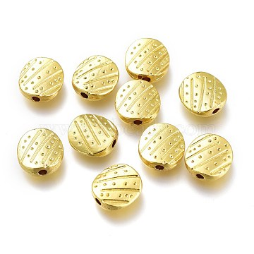 Alloy Beads, Long-Lasting Plated, for Jewelry Making, Oval, Golden, 10x9.5x3mm, Hole: 1.6mm(PALLOY-P219-06G)