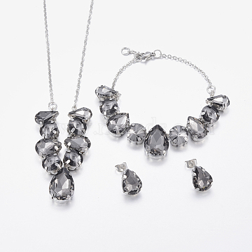 304 Stainless Steel Jewelry Sets, with Glass, Bib Necklaces, Stud Earrings and Bracelets, teardrop, Stainless Steel Color, Gainsboro, 16.14 inches(41cm), 7-1/2 inches(19cm), 14x10x6mm, Pin: 0.8mm(SJEW-P093-01D)