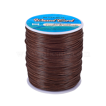 BENECREAT Waxed Polyester Cord, Saddle Brown, 1mm; about 200yards/roll(600 feet/roll)(YC-BC0001-01H)