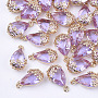Light Gold MediumPurple Teardrop Brass+Glass Pendants(X-GLAA-T007-05D)