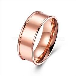 Bagues en acier titane pour hommes, anneau à large bande, taille 8, or rose, 18.1mm(RJEW-BB27601-B-8)