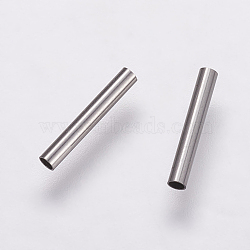 304 Stainless Steel Tube Beads, Stainless Steel Color, 10x1.5mm, Hole: 1mm(X-STAS-P161-01-10mm)