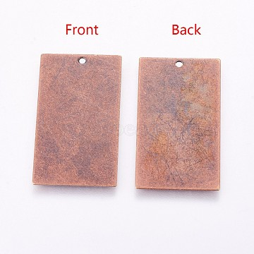2 Metal Stamping Blanks Rectangle Pendants Antiqued Copper Tone Brass Charms
